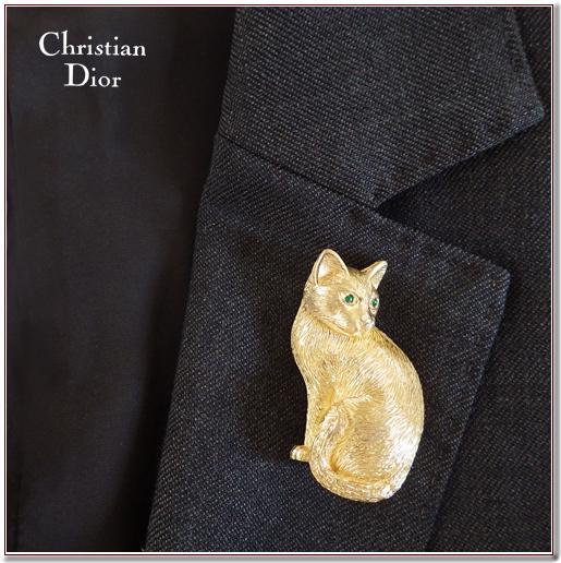 クリスチャンディオール猫のブローチ